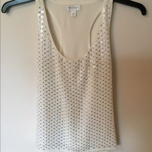White sequins dressy tank top XS Bisou Bisou